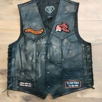 eBlueJay: Lady Biker Leather Vest With Patches Harley Davidson