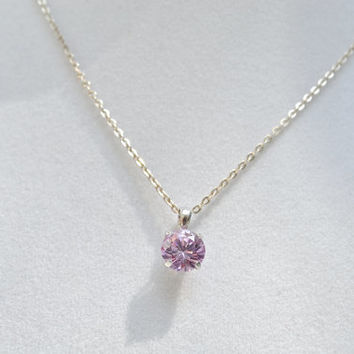 Amethyst Gemstone Necklace, Amethyst Pendant, Gemstone Pendant, Pink Gemstone Pendant, Sterling Silver Chain, Amethyst, Silver Necklace