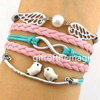 loving birds,infinity karma & wings and pearl Charm Bracelet Antique silver-- wax cords braid Leather bracelet--fashion gift 999