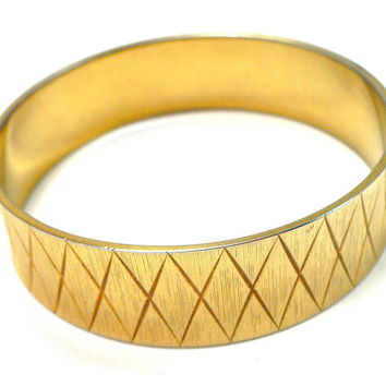 Vintage MONET Wide Gold Bangle Bracelet, Etched Brushed Gold, Wide Runway Bracelet, Mad Men Jewelry