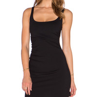 Gathered Tank Dress in Black