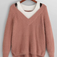 High Low Cold Shoulder Sweater