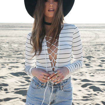 LACE-UP STRIPED BODYSUIT - WHITE