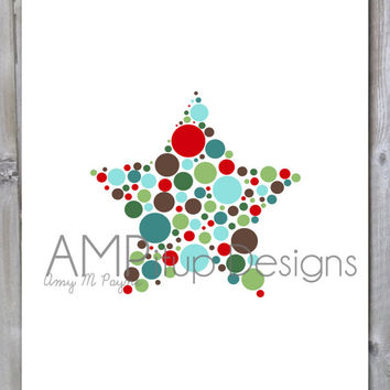 Polka Dot Star Christmas Instant Download