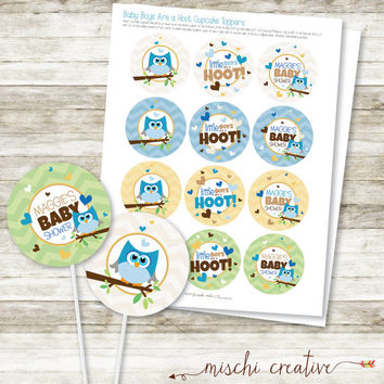 Little Boys are a Hoot, Owl Baby Boy Shower DIY Printable Cupcake Topper