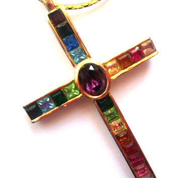 PSCO Multi-color Rainbow Cross Pendant: Gold Plated on Chain Necklace