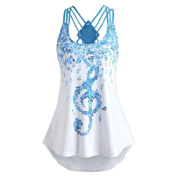 2018 Summer Sexy Ladies' Bandages Sleeveless Vest Top Musical Notes Print Strappy Tank Tops Cami Female Vest Ladies Clothing P30