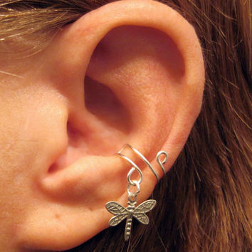 """Non Pierced Sterling Silver Ear Cuff """"Dragonfly"""" Cartilage Conch Cuff Upcycled Vintage"""
