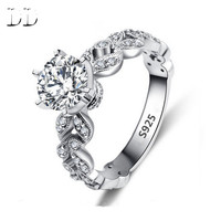S925 White Gold CZ Diamond Classic Engagement Wedding Ring Jewelry