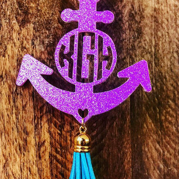 Rear View Mirror, Monogram, Car, Accessorie,Anchor, Personalized, Tassel, Car Charm