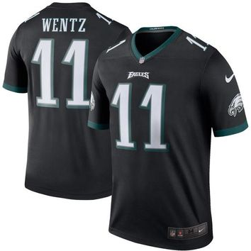 Men's Philadelphia Eagles Carson Wentz Nike Black Color Rush Legend Jersey