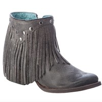 Corral Grey Fringe Ankle Boots A3136