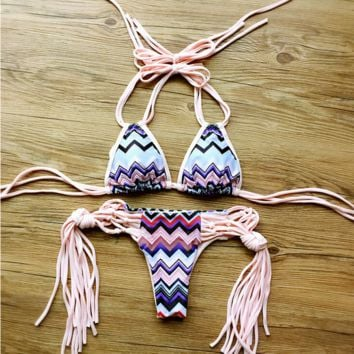 Pink Bandage Stripes Print Bikini Set Bathing Suits BK027