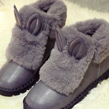 New Grey Round Toe Flat Faux Fur Patchwork Casual Ankle Boots