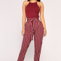 Jacklyn Stripe Pants - Burgundy/White