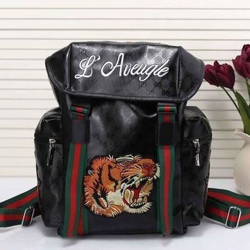 ICIKHI2 Gucci Women Men Tiger Embroidery Leather Shoulder Bag Travel Bag Backpack Tagre-