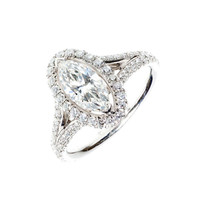 Peter Suchy Oval Halo Marquise Diamond Engagement Ring