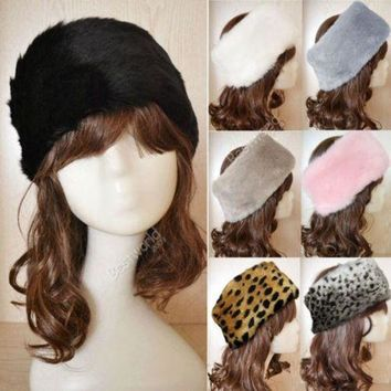 PEAP78W 7 Colors Fashion Hot Women Faux Fur Headwrap Headband elastic Ear Hat Earmuffs Ear Warmer Hair Muffs Band Winter F1