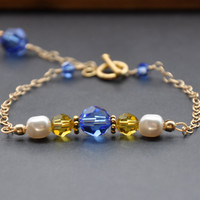 Yellow Blue Bracelet, Swarovski Glass Pearl, Gold, Mother's Day