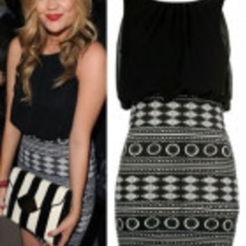 Black Aztec Skirt Mini Dress