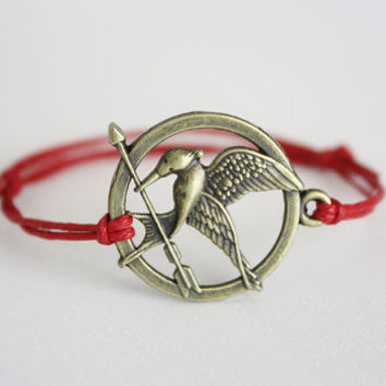 Hunger Games Mockingjay Bracelet, Anklet, Bird Bracelet, Antique Brass, Brass, Bronze