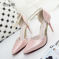 D'Orsay High Heels Women High Heel Shoes Pumps Stiletto Woman Party Wedding Shoes Kitten Heels