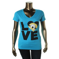 Despicable Me 2 Womens Juniors V-Neck Minion Graphic T-Shirt