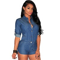 Women Plus Size Summer Denim Jumpsuit Shorts T-shirt+Short Overall Casual Jeans Romper  Blue Color