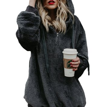 Gray Warm Furry Pullover Hoodie
