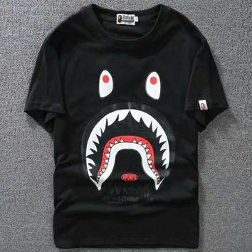 Bape Classic Shark Print Logo Round Neck Short T F-Great Me Store black