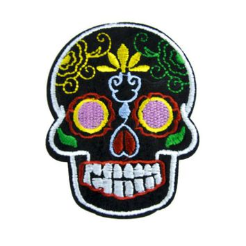 ac spbest Sugar Skull Patch Iron on Applique Dia De Los Muertos