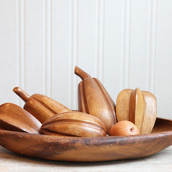 Monkey Pod, Monkey Pod Tray, Wood Fruit Bowl, Wood Fruit Tray, Wooden Fruit, Mid Century Home Decor,