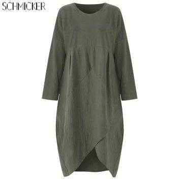 SCHMICKER Women Long Sleeve Casual Loose Solid Cotton Patchwork A Line Dress Female Asymmetrical Hem Midi Dress Plus Size