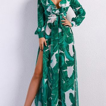 Ocean Drive Green White Leaf Pattern Long Sleeve Ruffle V Neck Double Split Maxi Dress