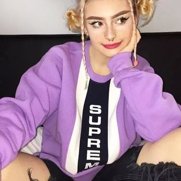 Supreme New fashion embroidery letter couple long sleeve top sweater Purple