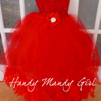 Lady in red halloween costume-Red lace and red tutu party dress lady in red party dress valentine tutu dress