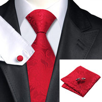 Bright Red Floral Classic Silk Necktie Set