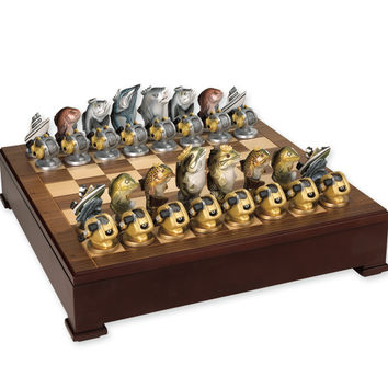 Freshwater Fish vs. Saltwater Fish Chess Set - Loon Lake Decoy