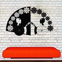 Vinyl Wall Decal Geisha Hand Fan Asian Decor Oriental Stickers Unique Gift (ig4273)