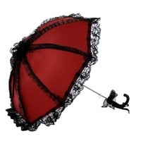 Topwedding Ruffled Wedding Bridal Parasol, Red with Black LSS130C02
