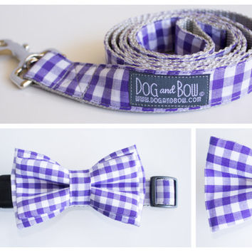 Purple Gingham Layered Bow Tie For Dogs With Collar with Optional Leash by Dog and Bow