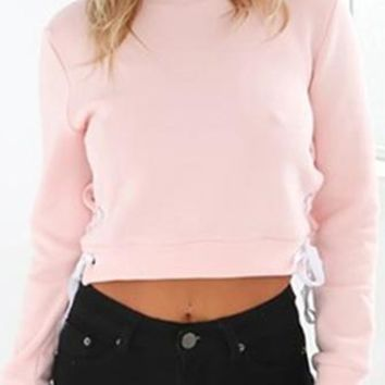 Hit The Street Pink Long Sleeve Mock Neck Lace Up Side Fleece Pullover Crop Top