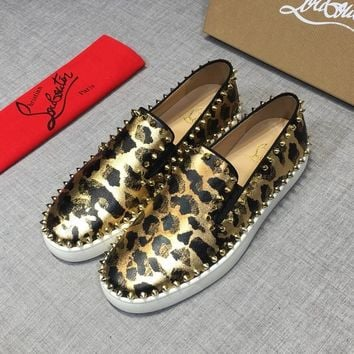 Christian Louboutin CL Black Gold Pik Boat Leather Low Top Sneakers - Best Deal Online
