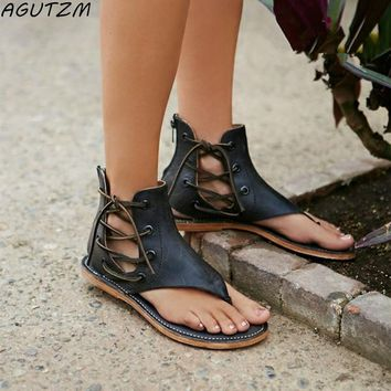 2018 Summer Women Gladiator Vintage Sandals Lace Up