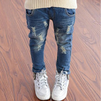 2017 Spring Autumn Elastic Waist Children Denim Pants Kids Boys Jeans Casual Ripped Leggings For Baby Girls Child clothes