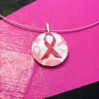 Breast Cancer Awareness Pink Ribbon Necklace Pendant - 1 inch Glass Tile Circle
