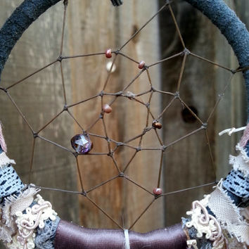 Unique Handmade Mini Dream Catcher- Dark Grays and pale pink beaded Timekeeper Dreamcatcher