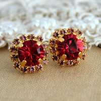 Red Ruby Crystal stud classic earring - 14 k plated gold post earrings real swarovski rhinestones.