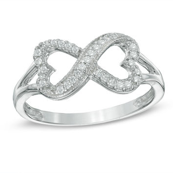 1/6 CT. T.W. Diamond Sideways Heart Infinity Ring in Sterling Silver