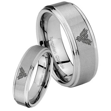 His and Hers Step Edge Phoenix Tungsten Silver Wedding Rings Set